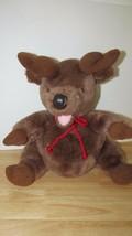 "Disney 14"" Plush reindeer pot round belly red cord neck tie - $13.27 CAD"