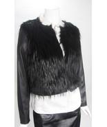 Michael Kors Black Faux Fur & Faux Leather Coat Jacket Sz M NWT MSRP $350 - $247.50