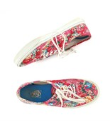 Vans Off The Wall Red Pink Floral Canvas Fashion Sneakers Shoes Women 9 Mens 7.5 - $44.43