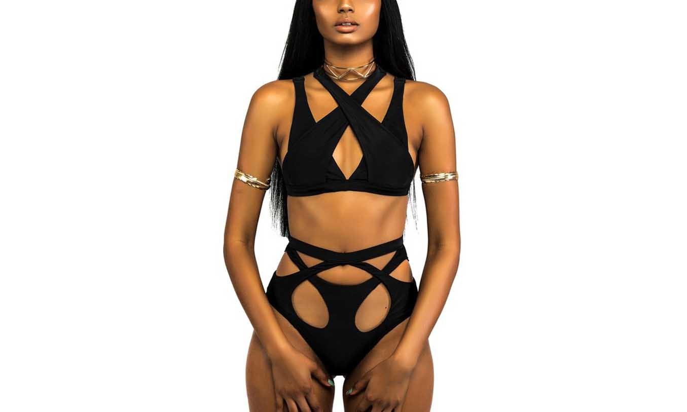 Women's Sexy Black High Waist Bandage Bikini Set