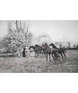 HOSES Mares Blooming Garden Visit by Ladies - 1888 Fine Antique Print - $30.60