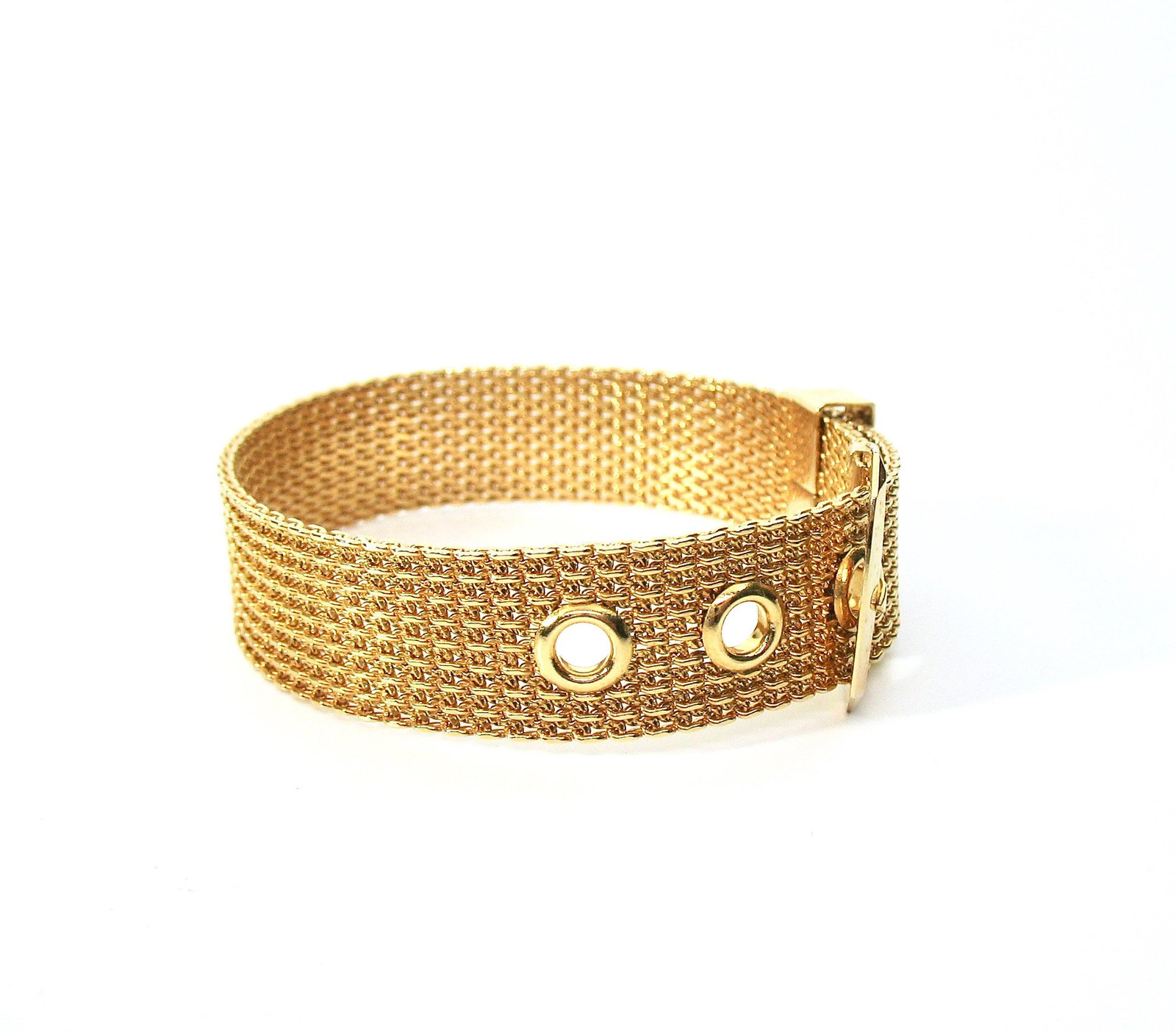 Mesh Buckle Bracelet, Gold Tone, Avon, 1970's, Adjustable, Signed Collectible, D image 5
