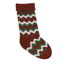 Darice Wool Christmas Stocking: Zig Zag, Red/Green/White, 8 x 27 inches w - $24.99