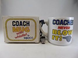 Vintage 80s Enesco Coffee Mug Coaches never Blow it box whistle it whistle box - $11.87