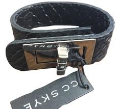 CC Skye Bracelet Snakeskin Leather Black Silver Buckle NWT (Rhodium Plat... - £32.17 GBP