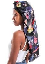 Double-Layer Silk Bonnet Extra Long Satin Sleep Cap for Long Hair Black-Feather,