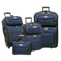 Travel Select Navy Amsterdam 4-Piece Lightweight Rolling Luggage Suitcas... - $98.99