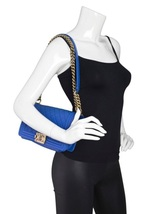 AUTHENTIC CHANEL ROYAL BLUE QUILTED VELVET MEDIUM BOY FLAP BAG SHW image 12