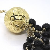 Silver necklace 925, Yellow, Large Machined Ball, BLACK ONYX Waterfall image 7