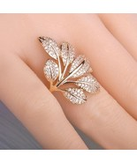 Women 18K Gold Ring Flower White Sapphire Jewelry Wedding Party Ring Siz... - $25.99