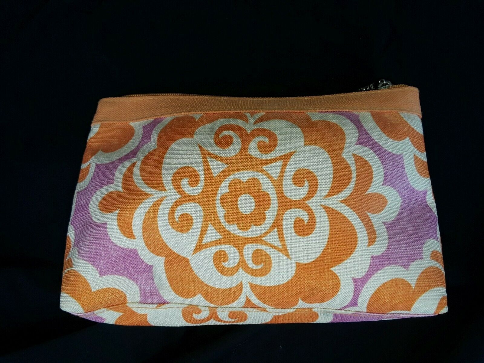 Primary image for Clinique makeup travel bag orange purple and white zipper close
