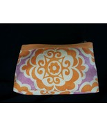 Clinique makeup travel bag orange purple and white zipper close - $0.95