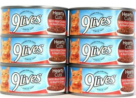 6 Cans 9 Lives 5.5 Oz Hearty Cuts Real Chicken & Beef In Gray Cat Food B... - $14.99