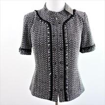 St John Collection Wool Rayon Black White Knit Jacket Sz 10 New - $507.68