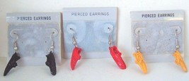 80's Vtg lot 3 pr metal sneakers shoes enamel pierced earrings runner at... - $15.79