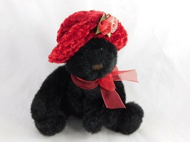 """Black Bear Red Hat Roses Bow 7"""" Stuffed Animal Toy - $8.95"""