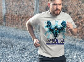 Black Bolt Dri Fit graphic T-shirt moisture wicking retro superhero  SPF tee image 3