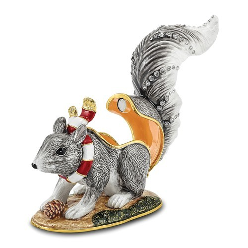 Bejeweled Crystal Enameled Squirrel Trinket Box