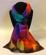 Hand Painted Silk Scarf Pink Yellow Orange Purple Teal Green Oblong Best Gift  - £43.96 GBP