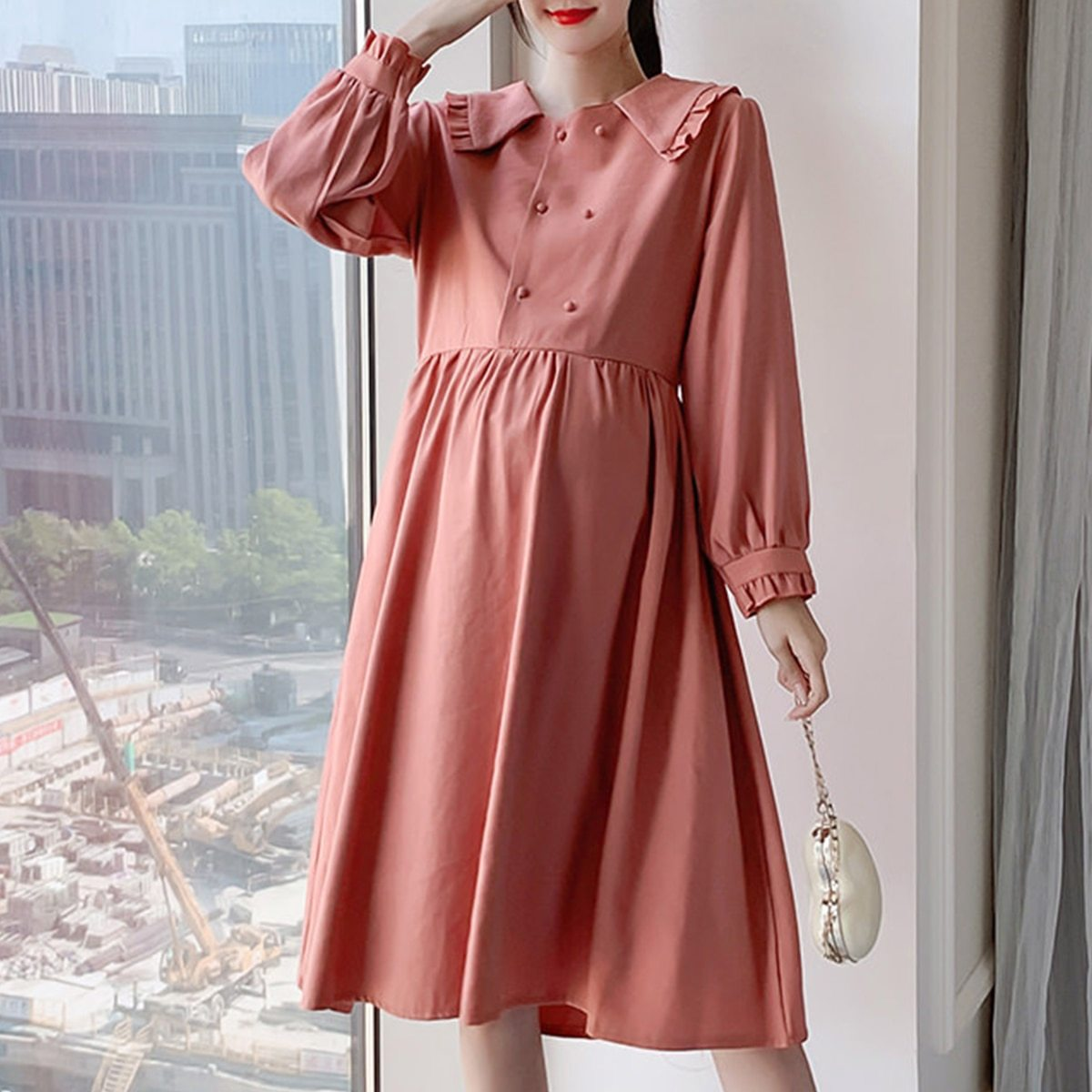 Maternity Dress Long Sleeve Solid Color Loose Dress image 4