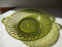 Indiana Glass Honeycomb Green Handle Round Relish Candy Dish Vintage - $8.75