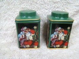 2002 Coca Cola Stoneware Square Canister Santa Set with Lids, Holiday Decor - $18.95