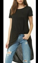 Forever 21 Knotted Knot Tie Front High Low Hem Tunic Long Tee T-shirt Bl... - $13.66