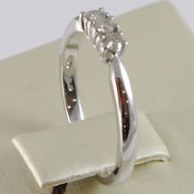 WHITE GOLD RING 750 18K, TRILOGY 3 DIAMONDS CARAT TOTAL 0.12, STEM SQUARE image 3