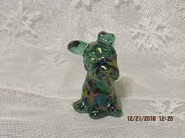 FENTON ART GLASS 1999 SPRUCE GREEN CARNIVAL SCOTTIE DOG FIGURINE - $45.00