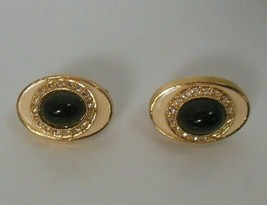 Vintage Signed KENNETH LANE Gold-tone Black Stone Rhinestone Clip-On Ear... - $24.50