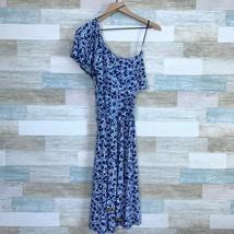 Michael Kors One Shoulder Flutter Dress Blue Floral Tie Waist Womens Medium - $35.63