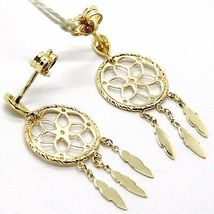 Yellow Gold Drop Earrings 750 18k, dreamcatcher, feathers, Italy Made image 4