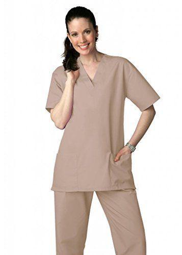 Khaki Scrub Set XL V Neck Top Drawstring Pants Unisex Uniforms 2 Piece New image 3
