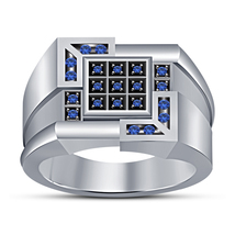 Blue Sapphire 14k White Gold Finish 925 Pure Silver Mens Pinky Ring Wedd... - £76.03 GBP