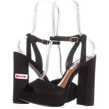 Steve Madden Brrit Platform Ankle Strap Sandals 259, Black, 10 US - $40.31