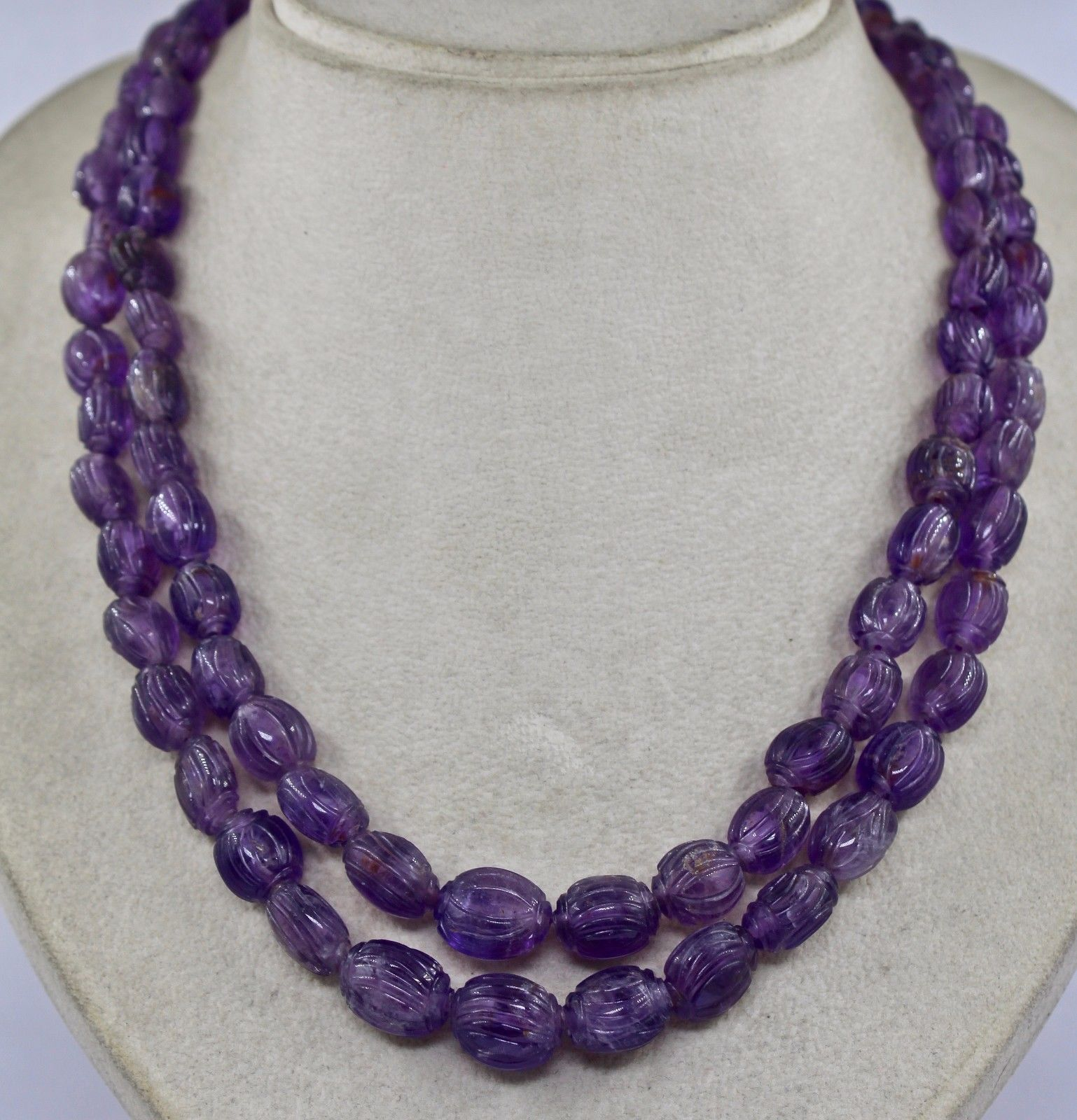 NATURAL AMETHYST BEADS CARVED TUMBLE 2 LINE 588 CARATS GEMSTONE LADIES NECKLACE