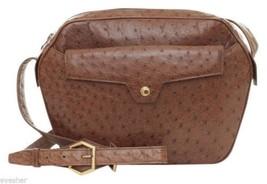 CHRISTIAN DIOR Shoulder Bag Leather Brown Ostrich Purse Gold HW Vintage - $1,187.50