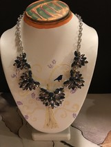"Van Heusen New With Tags Quality Rhinestones & Silver Necklace 9"". - $9.90"