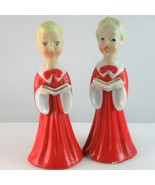 Choir boy girl salt pepper shakers Christmas holiday porcelain Japan red... - $27.89