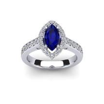 14K White Gold Pl Marquise&Round Cut Sapphire & Sim.Diamond Halo Engagem... - $1.954,63 MXN