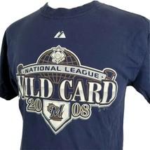 Milwaukee Brewers 2008 Wild Card T-Shirt Medium National League Blue Mil... - $14.99