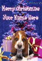 Basset Hound Puppy Dog Merry Christmas Personalised Greeting Card codeXM170 - $4.42