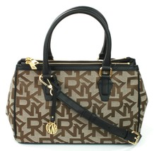 DKNY Donna Karan Black Brown Canvas Logo Embossed Heritage Shoulder Bag ... - $223.49