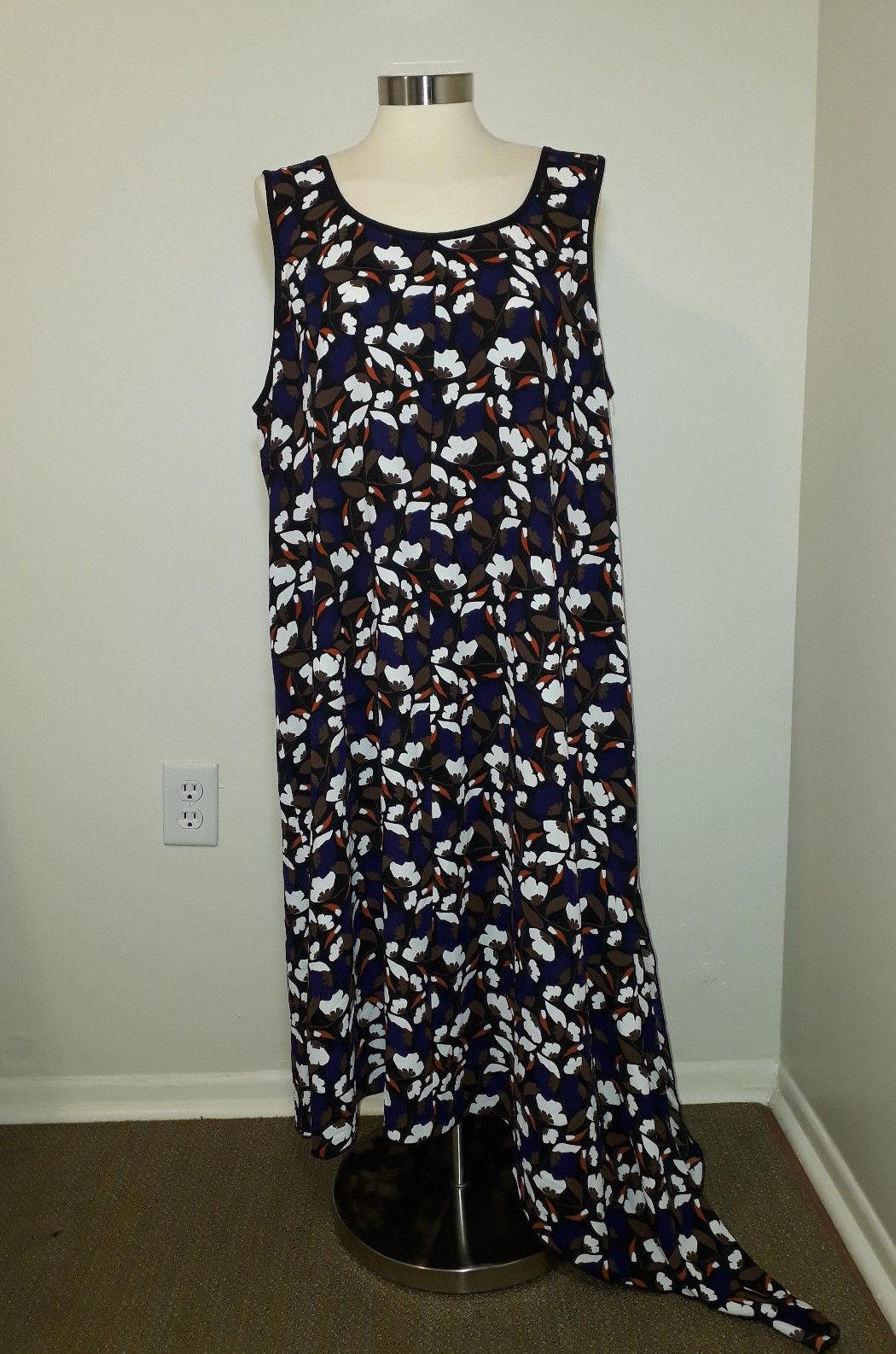 $99 Anne Klein Printed Asymmetrical Dress BlackAfrican Violet Combo XL