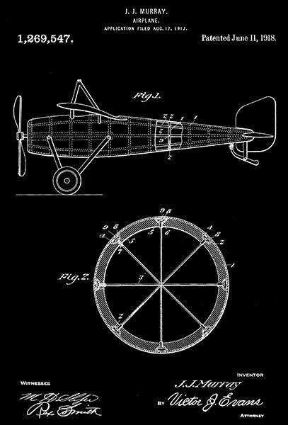 Primary image for 1918 - Airplane - J. J. Murray - Patent Art Poster