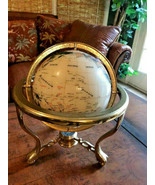 Mother of Pearl Gemstone world shell Globe Map Gold Brass display Stand ... - $296.99