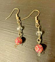 BEAUTIFUL Handmade Pink Marbled Dangle Earrings - $14.03
