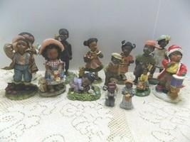 Lot of 14  Black Americana Figurines. Kids, Angel, Santa, Dogs, Pig,   L... - $23.76