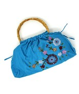 Turquoise Beaded, Sequin Cotton Purse w Bamboo Handles - Vintage Stock -... - $28.00