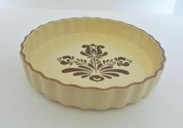 Pfaltzgraff Village Pattern Brown Beige Fluted Quiche Baking Pan Plate Dish  - $19.68